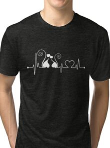 cat heartbeat Tri-blend T-Shirt