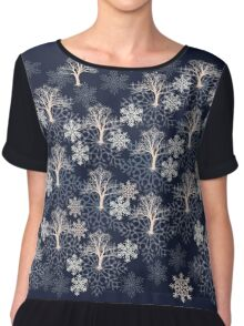 Snow Winter Tree Pattern Chiffon Top