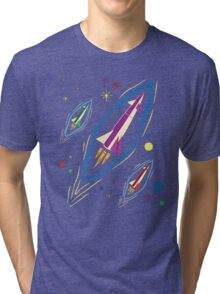 Retro Rocket Racers in Outer Space Tri-blend T-Shirt