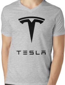 TESLA Mens V-Neck T-Shirt