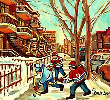 HOCKEY NEAR ROW HOUSES MONTREAL WINTER SCENES by Carole  Spandau