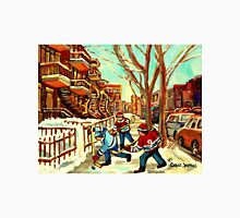 HOCKEY NEAR ROW HOUSES MONTREAL WINTER SCENES Unisex T-Shirt