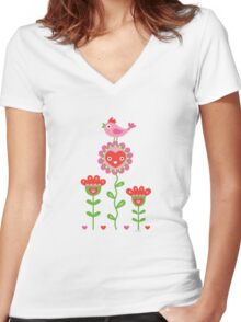 Happy - flower birds and hearts Women's Fitted V-Neck T-Shirt