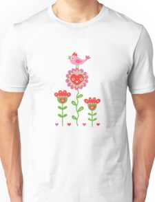 Happy - flower birds and hearts Unisex T-Shirt