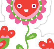 Happy - flower birds and hearts Sticker