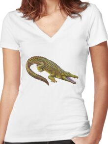 Vintage Crocodile Women's Fitted V-Neck T-Shirt