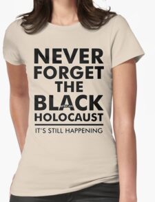 Never Forget the Black/African Holocaust Blackout Womens Fitted T-Shirt
