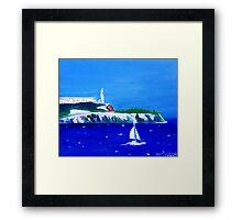 Yacht scene in San Francisco Bay with Alcatraz Framed Print
