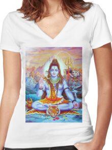 Shiva The Destroyer  Women's Fitted V-Neck T-Shirt