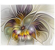 Abstract Fantasy Flower Fractal Art Poster