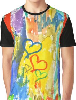 Watercolor Abstract Hearts Colorful Random Brushstrokes Graphic T-Shirt