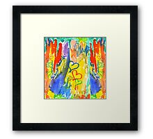 Watercolor Abstract Hearts Colorful Random Brushstrokes Framed Print