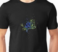 Watercolor Rose Painting, Green Blue T-shirt,  Unisex T-Shirt