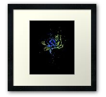 Watercolor Rose Painting, Green Blue T-shirt,  Framed Print