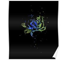 Watercolor Rose Painting, Green Blue T-shirt,  Poster