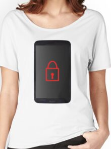 Mobile Phone Locked With Padlock Symbol Women's Relaxed Fit T-Shirt