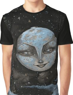 Soft Constellations Framing A Sandy Moon Graphic T-Shirt