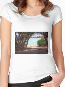 Trees and boats Women's Fitted Scoop T-Shirt
