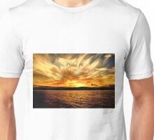 Gold Sky Flames Sunset. Photo Art, Prints, Gifts, and Apparel. Unisex T-Shirt