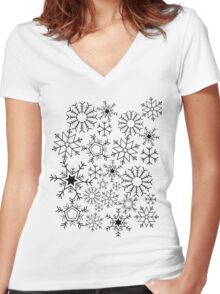 Snowflakes Women's Fitted V-Neck T-Shirt