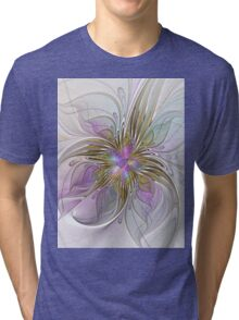 Floral abstract and colorful Fractal Art Tri-blend T-Shirt