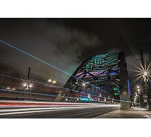 Tyne Bridge at night watching the traffic go by Photographic Print