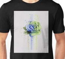 Watercolor Rose Painting, Green Blue T-shirt Unisex T-Shirt