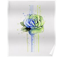 Watercolor Rose Painting, Green Blue T-shirt Poster