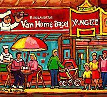 VAN HORNE BAGEL AND YANGZTE RESTAURANT MONTREAL by Carole  Spandau