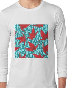 Red Origami Birds Long Sleeve T-Shirt