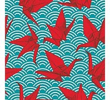 Red Origami Birds Photographic Print
