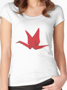 Red Origami Bird Women's Fitted Scoop T-Shirt