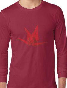 Red Origami Bird Long Sleeve T-Shirt
