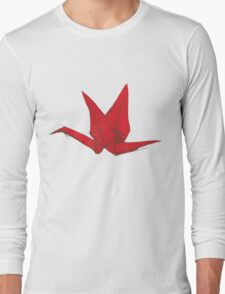 Red Origami Bird Long Sleeve T-Shirt