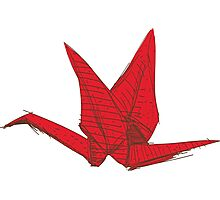 Red Origami Bird Photographic Print