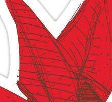 Red Origami Bird Sticker