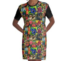 Tropical patchwork Graphic T-Shirt Dress