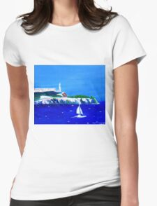 Yacht scene in San Francisco Bay with Alcatraz Womens Fitted T-Shirt