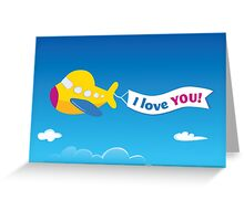 Yellow airplane. Vector airplane Greeting Card