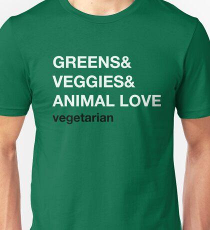 Greens&Veggies&Animal Love. Vegetarian. Unisex T-Shirt
