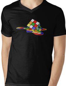 Rubiks Cube Melting Mens V-Neck T-Shirt