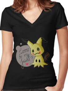MIMIKYU LOVE Women's Fitted V-Neck T-Shirt