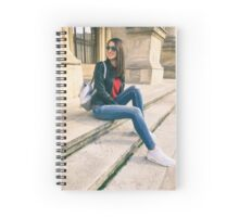 Young Beautiful Girl Posing In Autumn Outfit Spiral Notebook