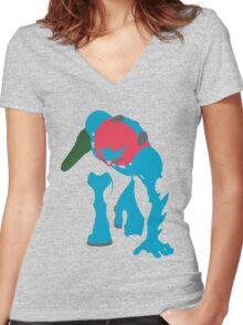 Fusion Suit Samus Women's Fitted V-Neck T-Shirt