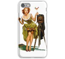 green dress pin up girl with classic camera and bird iPhone Case/Skin