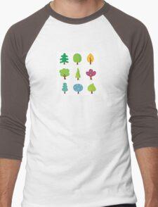 Retro tree designs. Retro vector illustration of nine trees. Men's Baseball ¾ T-Shirt