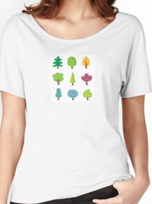 Retro tree designs. Retro vector illustration of nine trees. Women's Relaxed Fit T-Shirt