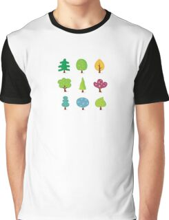 Retro tree designs. Retro vector illustration of nine trees. Graphic T-Shirt