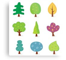 Retro tree designs. Retro vector illustration of nine trees. Metal Print