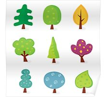 Retro tree designs. Retro vector illustration of nine trees. Poster